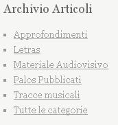 Categorie articoli pubblicati